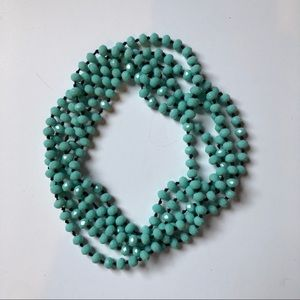 Jewelry - Turquoise Blue Beaded Double Wrap Necklace